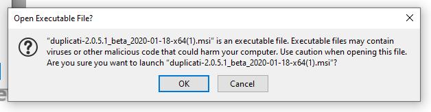 Duplicati MSI Accept