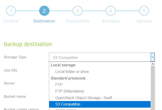 Storage Type S3 Compatible