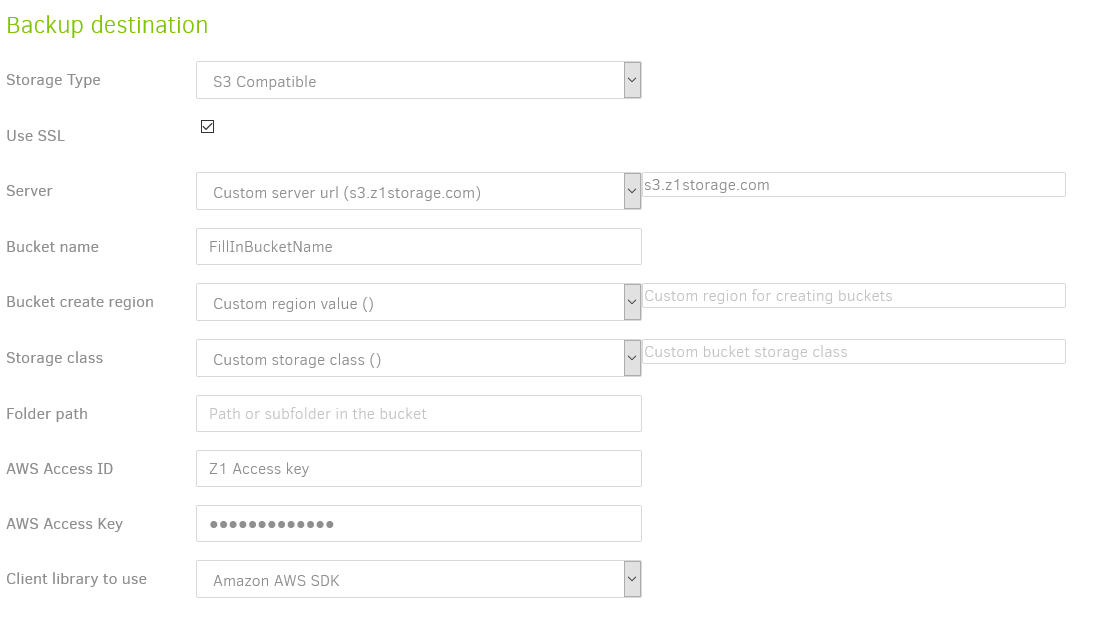 Backup Destination : S3 Compatible