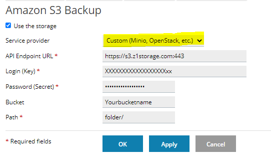 Plesk Backup to Z1 Storage Cloud