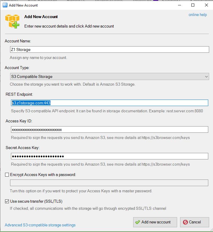S3 Browser - Add New Account - Z1 Storage